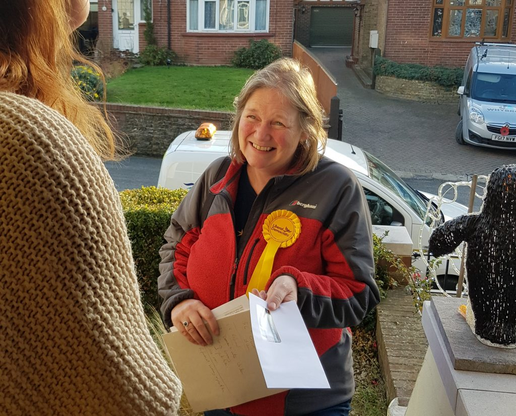 Liberal Democrat, Angie Curwen speaking to voters during the 2019 campaign trail.