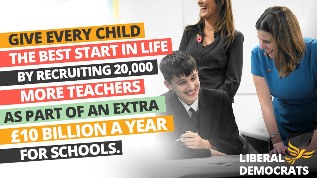 LibDems' campaign poster to give every child the best start in life; showing Jo Swinson, a teacher, and a pupil in school.
