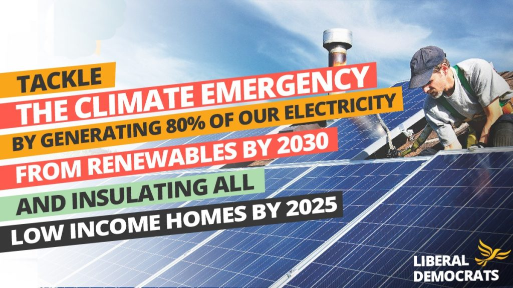 LibDems climate emergency campaign poster, showing a man fitting solar panels to a roof.