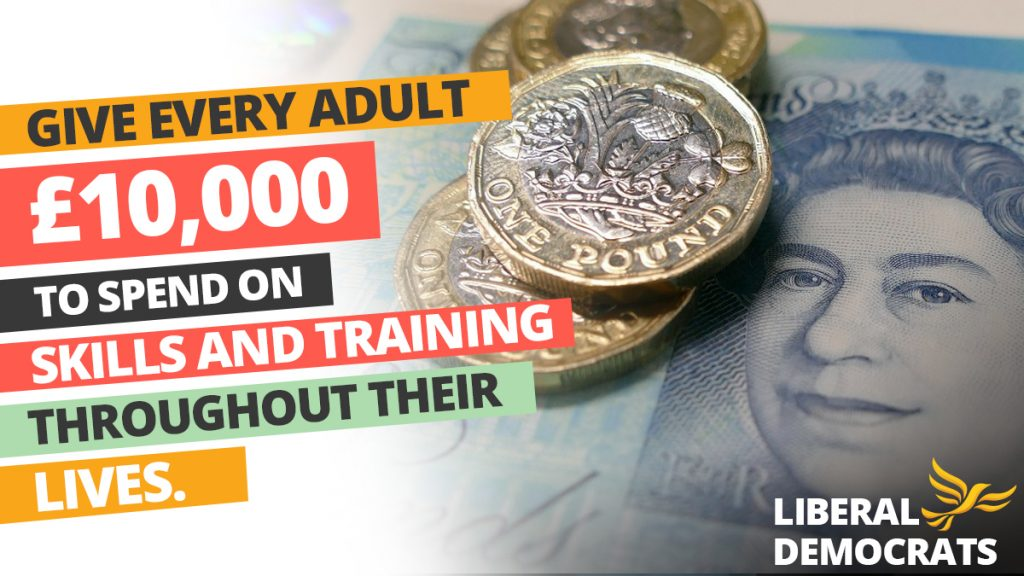 Liberal Democrat skills and training poster, showing British money.