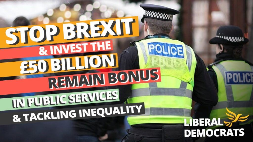 Liberal Democrats' Stop Brexit poster, showing police officers in hi-vis jackets.